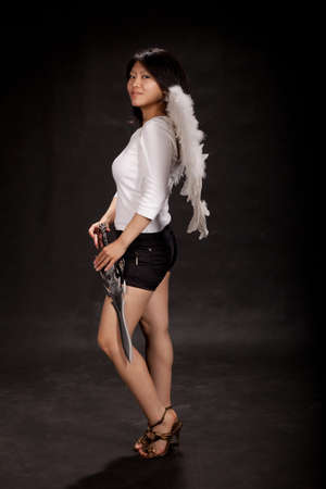 asian angel: Girl angel with wings and sword