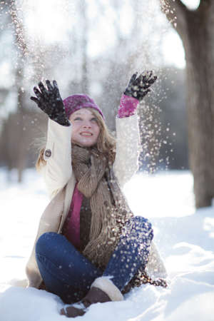 Portrait of a beautiful girl in the winter. Winter girl. photo