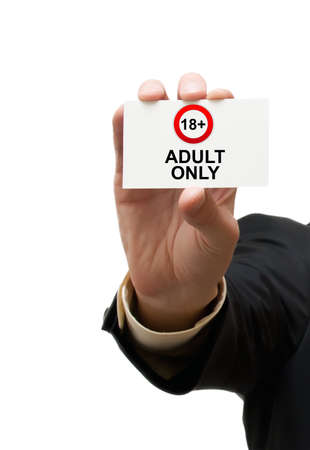 adult only: Card adult only with sign Stock Photo