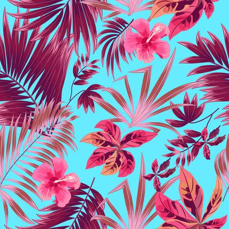 Patrón sin fisuras de hojas de palmeras tropicales de plantas de selva exótica, vector floral. Fondo de pantalla de la naturaleza Fondo de vector. Ilustración de vector