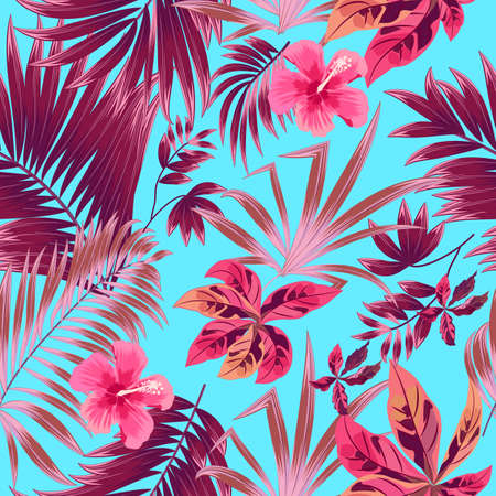 Seamless pattern of exotic jungle plant tropical palm leaves, floral vector. Nature wallpaper.Vector background. Illusztráció