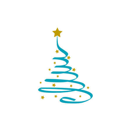 Merry christmas background with blue christmas tree and gold star, vector. Illustration