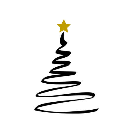 Fondo di buon natale con albero di natale e stella d'oro, vettore. Vettoriali