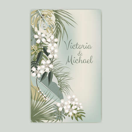 Vector tropical background in olive green colors. Botany design for wedding ceremony. Can be used for brochure template, poster, wedding invitation or card design with jungle leaves for cosmetics, spa, beauty salon. Ilustração