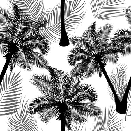 Vector tropical jungle seamless pattern with black palm trees and leaves  on white background