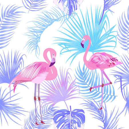Vector tropical seamless pattern in violet colors with flamingo. Botany design. Can be used for brochure template, poster, wedding invitation or card design