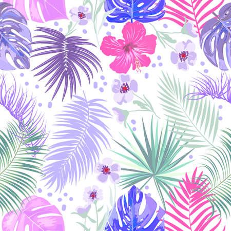 Seamless pattern of leaves monstera, flowers, tropical jungle leaves of palm tree. Multicolor vector background. Векторная Иллюстрация