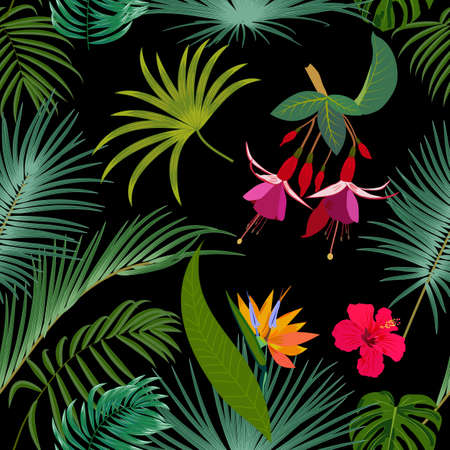 Seamless pattern vector of tropical jungle  with palm trees leaves and flowers, background for wedding,quotes, Birthday and invitation cards,greeting cards, print, blogs, bridal cards.