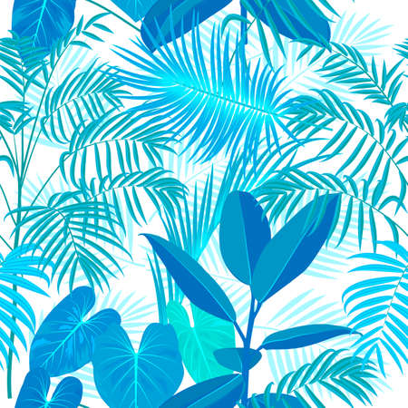 Tropical vector turquoise seamless pattern on white background. Botany design, jungle leaves of palm tree and flowers. Ilustracja