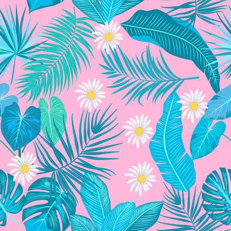 Modello senza cuciture delle foglie di palma della giungla tropicale, monstera e fiori, sfondo vettoriale