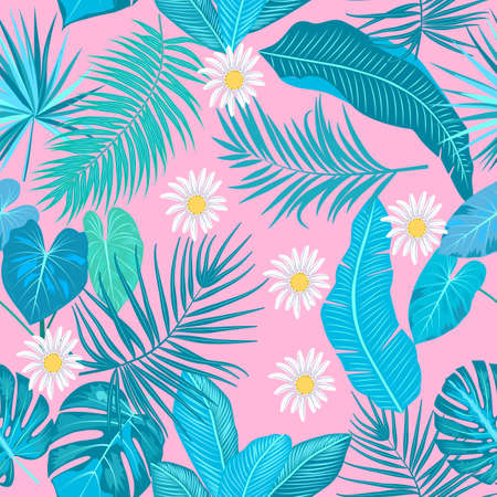 Tropical jungle palm leaves seamless pattern, monstera and flowers, vector background