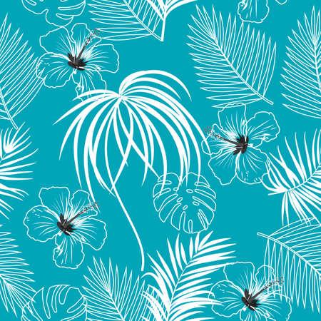 Patrón de vector transparente de hojas de palmera de selva tropical, hibisco, fondo turquesa para textiles, bodas, citas, cumpleaños e invitaciones.
