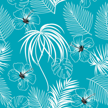 Seamless vector pattern of tropical jungle palm tree leaves, hibiscus, turquoise background for textile, wedding,quotes, Birthday and invitation cards.