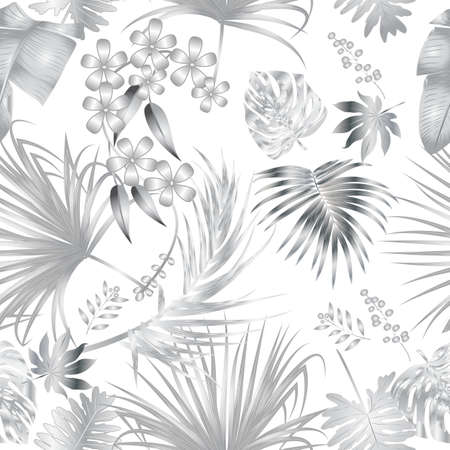 Seamless vector pattern of tropical jungle silver palm tree leaves, background for textile, wedding, Birthday and invitation cards.