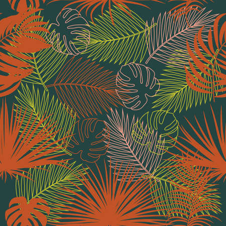Seamless vector pattern of tropical jungle with palm tree leaves in ochre, pale pink, yellow green and deep teal colors, background for textile, invitation cards, greeting cards, print, blogs, bridal cards.