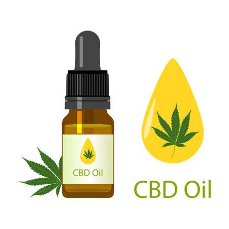 Cannabis oil bottle and green medical marijuana leaves isolated on white background. Healthy Hemp, CBD oil, vector illustration.