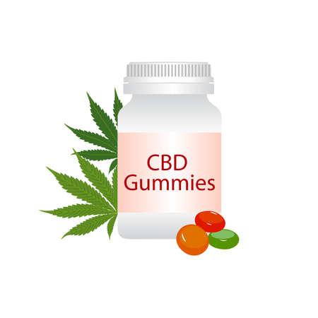 CBD gummies bottle and green medical marijuana leaves isolated on white background. Healthy Hemp, cannabisl, vector illustration. Stock Vector - 134926305