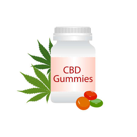 CBD gummies bottle and green medical marijuana leaves isolated on white background. Healthy Hemp, cannabisl, vector illustration.