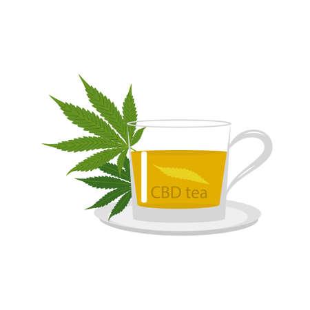 CBD tea cup and green medical marijuana leaves isolated on white background. Healthy Hemp, cannabis, vector illustration. Illustration