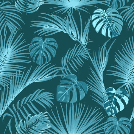 Seamless pattern with  monochrome tropical jungle palm tree leaves. Botanical vector illustration.