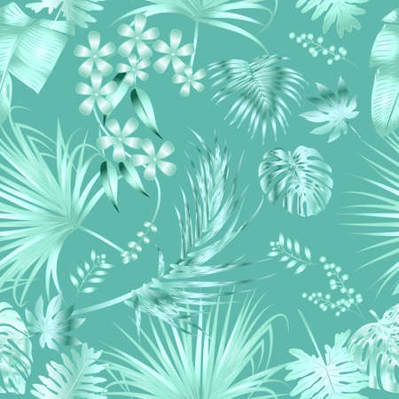 Seamless pattern with  mint monochrome tropical jungle palm tree leaves. Botanical vector illustration.