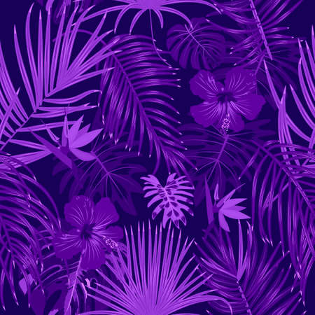 Vector seamless pattern of violet monochrome tropical leaves, monstera, flowers, jungle leaves of palm tree on dark background.