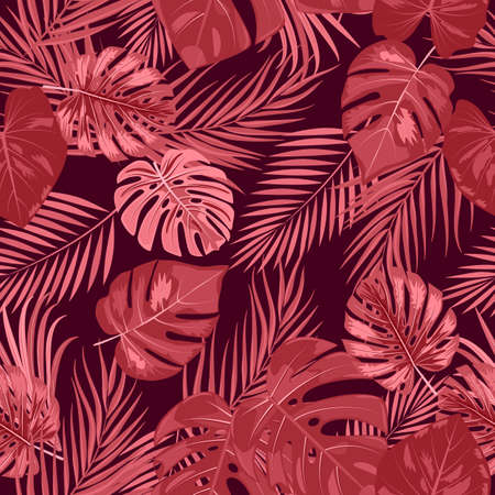 Seamless pattern with red monochrome tropical jungle palm tree leaves. Botanical vector illustration.