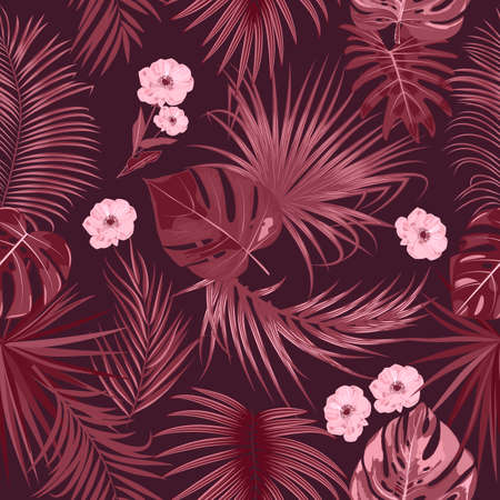 Seamless pattern with red monochrome tropical jungle palm tree leaves. Botanical vector background.