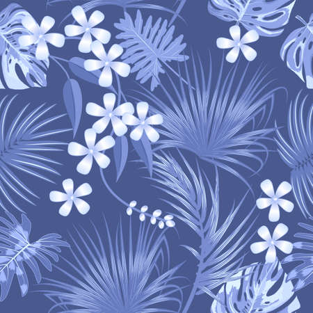 Seamless pattern with  monochrome tropical jungle palm tree leaves and flowers. Botanical vector background. Ilustracja