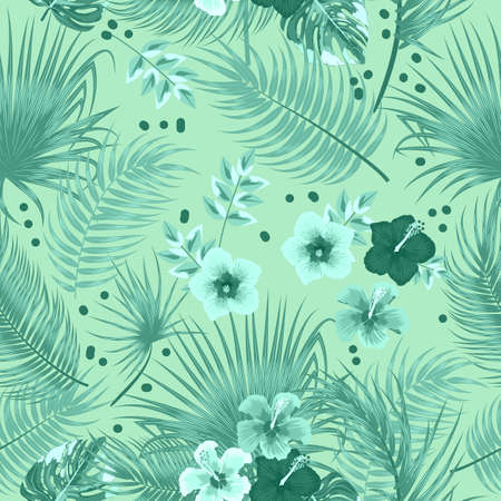 Seamless pattern of leaves monstera, flowers, tropical jungle leaves of palm tree, green monochrome vector background.