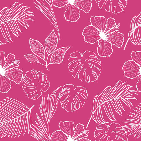 Seamless pattern with contour lines monochrome tropical jungle palm tree leaves. Botanical vector illustration.