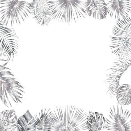 Vector tropical jungle frame with silver palm trees and leaves on white background for wedding,quotes, Birthday and invitation cards,greeting cards, print, blogs, bridal cards. Illusztráció