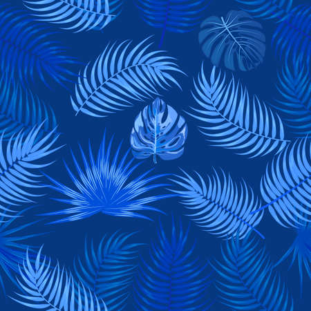 Classic blue seamless pattern of leaves palm tree, monstera, flowers, vector background of tropical jungle leaves.