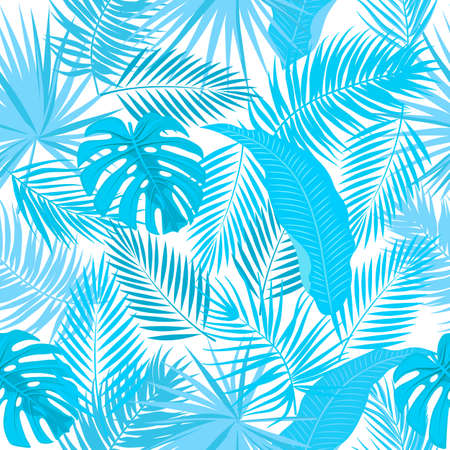 Blue seamless pattern of leaves palm tree, monstera, flowers, vector background of tropical jungle leaves.