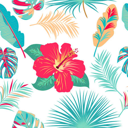 Vector tropical jungle seamless pattern with palm trees leaves and flowers, background for wedding, Birthday and invitation cards Векторная Иллюстрация