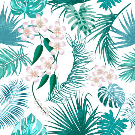 Vector tropical jungle seamless pattern with palm trees leaves and flowers, background for wedding, Birthday and invitation cards Vektorgrafik