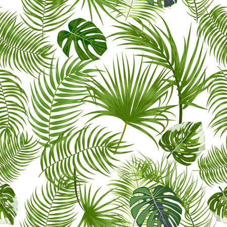 Vector tropical jungle seamless pattern with palm trees leaves and monstera, background for textile, wedding, Birthday and invitation cards