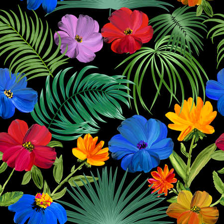 Tropical jungle palm leaves and flowers seamless pattern, vector background Banque d'images