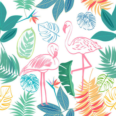 Vector seamless pattern with pink flamingo and flowers, tropical jungle leaves of palm tree, floral background. 矢量图像