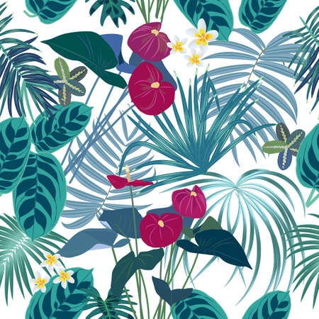 Seamless pattern of tropical jungle palm leaves and flowers, vector background