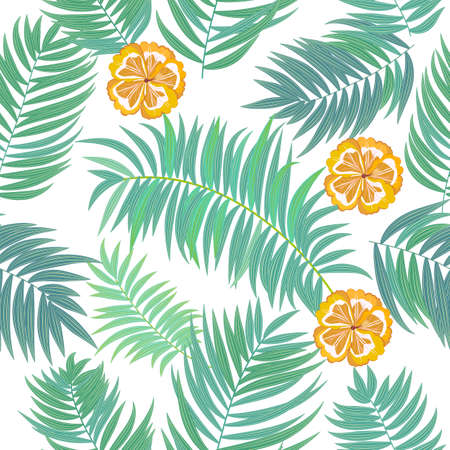 Vector seamless pattern of flowers, tropical jungle leaves of palm tree, floral background.