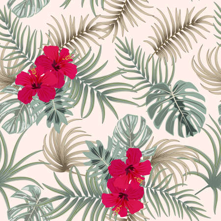 Tropical vector seamless pattern. Botany beige background with red hibiscus, jungle leaves of palm tree wallpaper. 矢量图像
