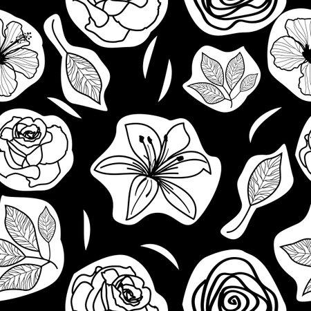 Vector seamless pattern of flowers on black, modern background. 矢量图像