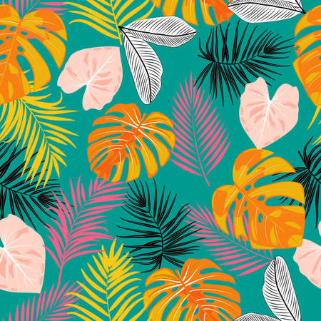 Seamless pattern of leaves monstera, tropical jungle leaves of palm tree. Multicolor vector background.