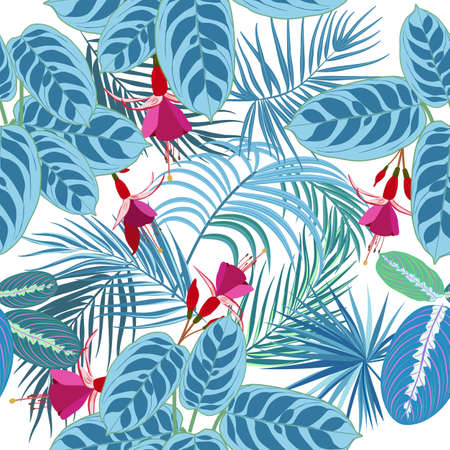 Tropical jungle palm leaves and flowers seamless pattern, vector background