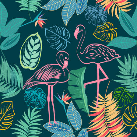 Seamless pattern of flamingo, tropical jungle palm leaves and flowers, vector background