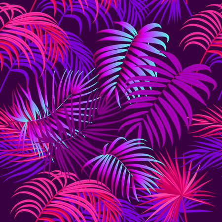 Neon tropical jungle palm leaves seamless pattern, vector background