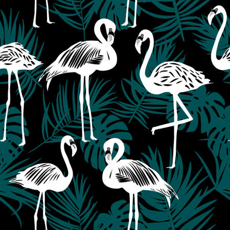 Seamless pattern of flamingo with palm leaves, exotic bird, vector illustration 矢量图像