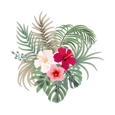 Vector tropical bouquet of palm tree leaves and flowers isolated on white background. Hawaiian style for invitation, wedding or greeting cards.