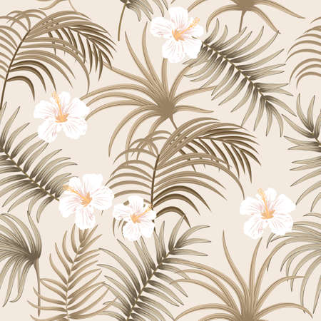 Tropical vector seamless pattern with leaves of palm tree and flowers. Botany background, jungle wallpaper.